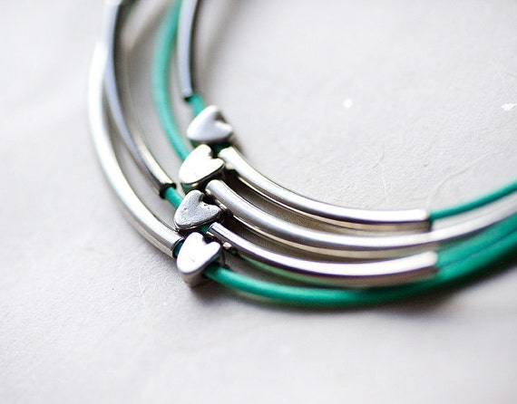 Mint Green Leather Bracelet with Golden or Silver Small Hearts and Tubes by pardes israel