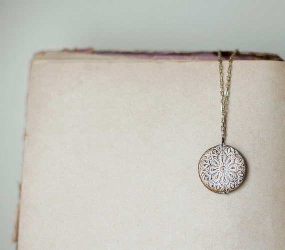 White Ornament oriental textures gold clay pendant by Pardes