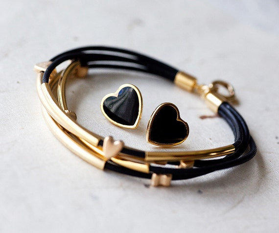 Set - Black Leather Bracelet with Golden Small hearts and Tubes and enamel hearts earrings studsby pardes israel
