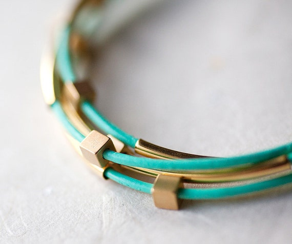 Mint Green Leather Bracelet with Mat Golden Small Cubes and Tubes by pardes israel