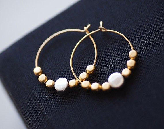 NEW Collection - gold plated earrings with 6 tiny gold beads and one silver by pardes israel