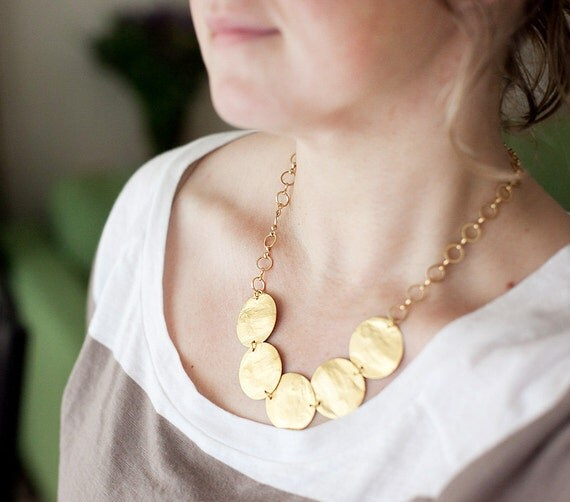 NEW Collection - 5 big golden plates on golden plated chain by pardes israel