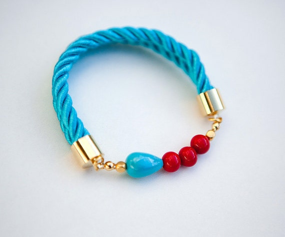 NEW Collection Red and Teal Glass Beads on Silk Cord bracelet  by pardes israel