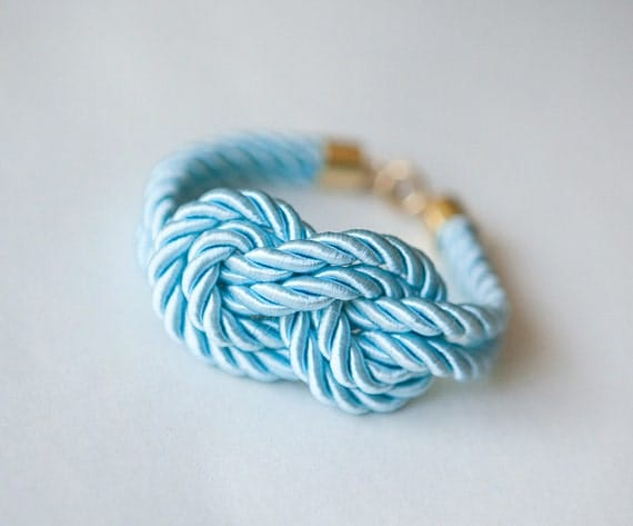 Baby Blue Nautical Knot  Rope with sailor knot Eight Bracelet by pardes israel