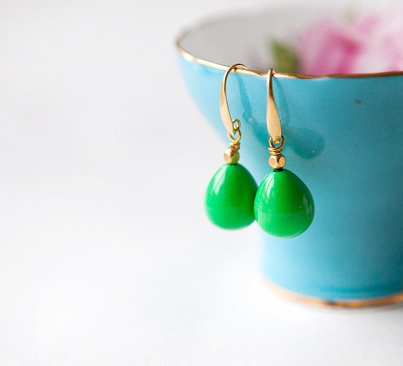 NEW Collection - bright green arcylic long drops earrings by pardes israel