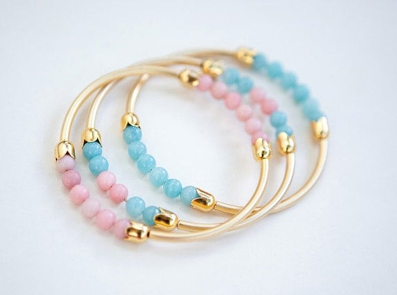 THREE Gemstone Bangle Bracelets with Light Blue Amazonite and Pink Opal by pardes israel