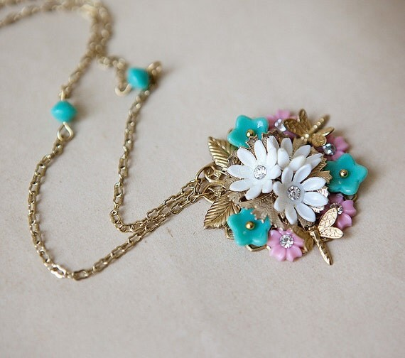 OOAK Bridal Vintage Style Necklace with Symmetrical Pendant Mint Green and Pink