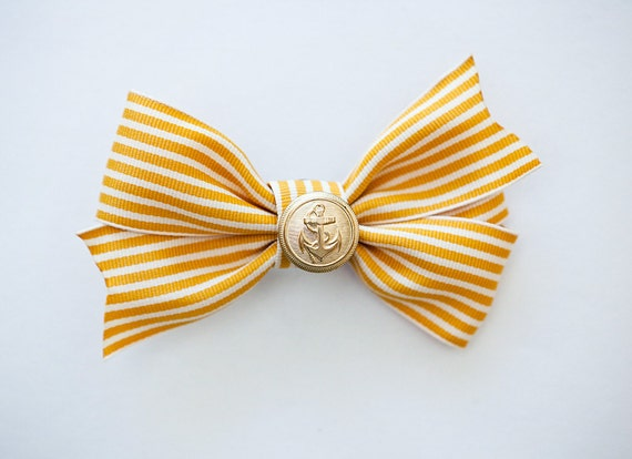 Yellow and White Ribbon bow with a vintage button with anchor