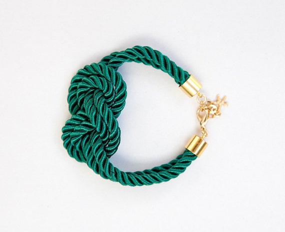 Emerald Green Nautical Cord Sailor Knot Bracelet by pardes israel