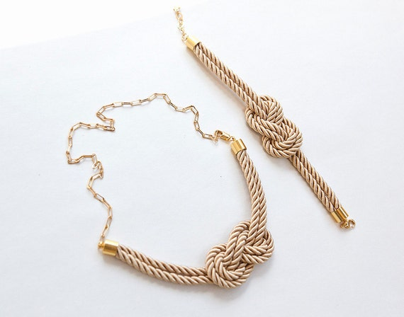 Light Gold Matching better set  Nautical Knot  Rope Necklace and bracelet with golden chain