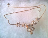 Very Sweet Scitarelli Necklace - clear glass and rhinestones - goldtone