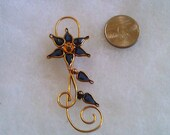 Flower - Goldtone with blue glass petals and leaves