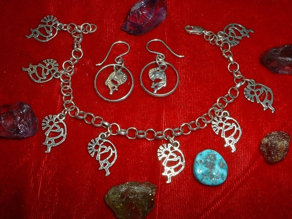 Sterling Silver Charm Bracelet and Earring Combination, Item 415