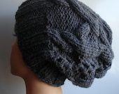 Cable Knit Hat Slouchy Beanie Large hat Charcoal Gray Slouchy Beanie Knit Cable hat  Oversized Baggy cabled hat autumn accessory winter hat