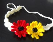 Crochet headband  flowers crochet headband red yellow  flowers Hair Accessories girls and women