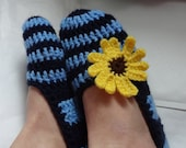 Crochet Slippers for Women navy blue stripes yellow Flowers  Adult Crochet Slippers, Home Shoes, Crochet Women Slippers