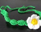 Crochet headband  flowers crochet headband green DAISY  flower  Hair Accessories girls and women