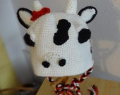 Newborn Photography Props Baby COW  Hat Knit Cow Hat knit infant Cow  hat-  great photography prop - animal hat - Baby hat