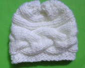 Newborn Knit Hat, Knit Cable Baby Beanie hat , Baby Hats, Baby Beanie Hats, Photo Prop Baby Hat, Newborn Girl Hat, Knit Newborn Hat,