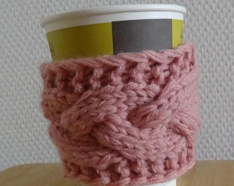 Cabled Coffee Cup Cozy in Parisian pink Gift below 15