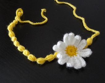 Crochet headband  flowers crochet headband yellow white  flowers Hair Accessories girls and women