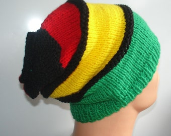 Hat Slouchy Beanie Rasta Beanie Chunky Knit Accessories Slouchy Knitted - Handmade Knit Rasta Hat  - Hat Beanie Lare Men's hats Women's hats