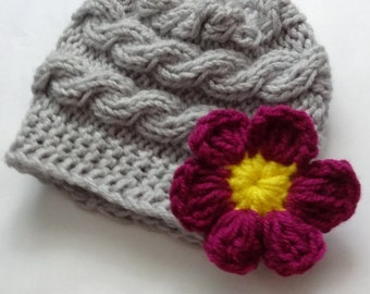 Girl Hats, Photo Prop Hat, Newborn Girl Hat, Knit Newborn Hat, Newborn Knit Hats, Knit Infant Hat, Baby Hats, Photo Prop hat, Daisy Flower