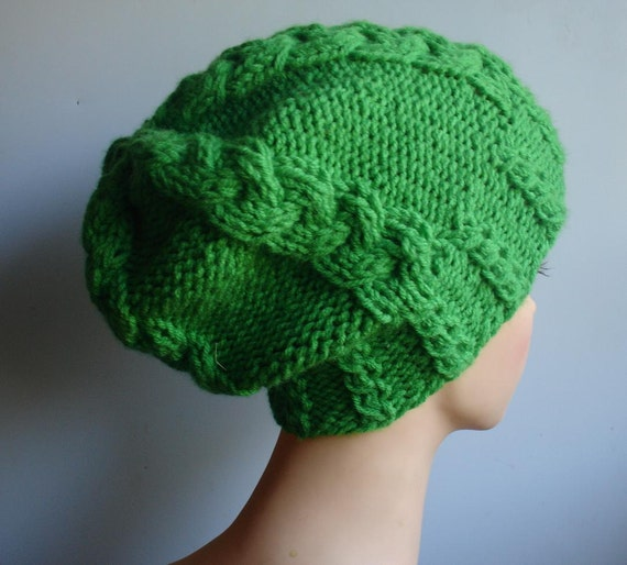 Hat Slouchy Beanie Green Beanie Chunky Knit  Accessories Slouchy Knitted - Handmade Knitt Cable Hat Hat Beanie Large for Men and Women