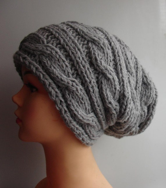 Hand Knit Hat  Slouchy Hat Beanie Knit Cable hat Slouchy Beanie  Oversized Baggy cabled hat women autumn accessory gray winter hat
