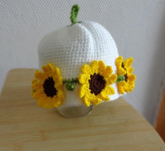 Hand Crochet  Hat   sunflower Flowers photo prop newborn Baby Crochet Hats Sunflower Hat girls flowers hat crochet girl hat hat with flowers