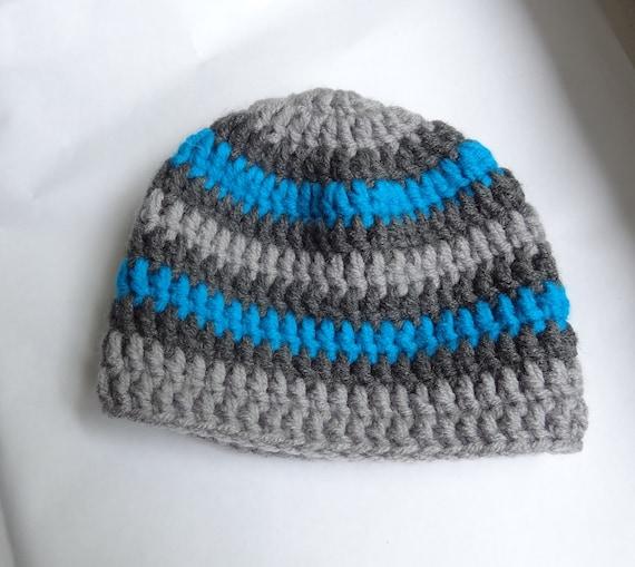 Hand Crochet hat newborn baby  Gift or Photo Prop  Baby Boy's Hat Graphite gray turquoise stripes  Crochet Boys Beanie Hat, Toddler hat