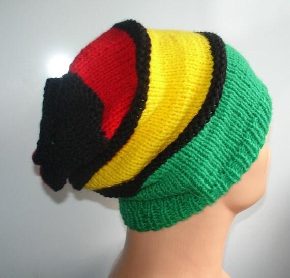 Knitting Pattern Rastafarian Beanie : Hat Slouchy Beanie Rasta Beanie Chunky Knit Accessories by Ifonka
