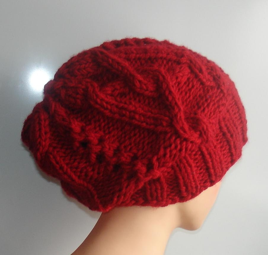 cable knit hat slouchy women men red Slouchy Beanie Cable Hat