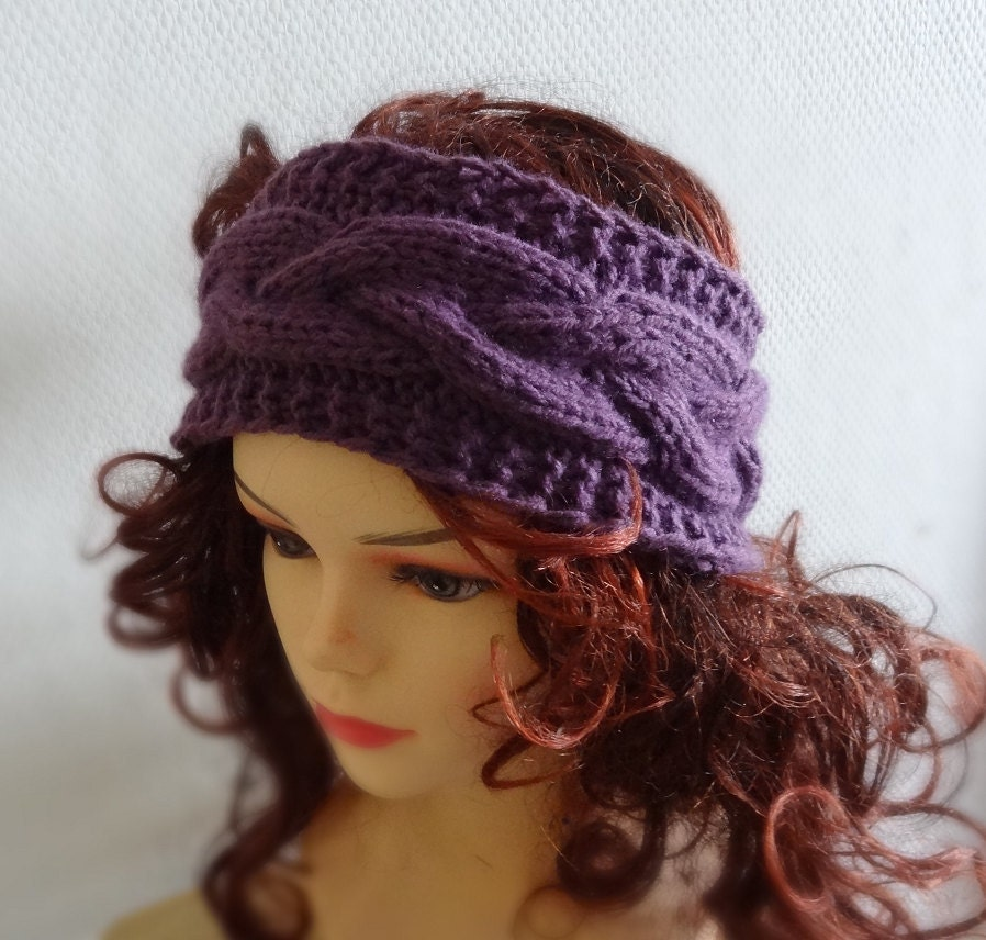 Hand Knitted Headbands Patterns : Knit Cable Headband Plait PLUM Hand knit headband head by Ifonka