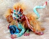 OOAK  fantasy dragon fairy mystical art doll polymer clay sculpture FREE SHIPPING