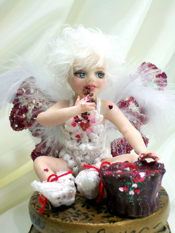 OOAK  fantasy fairy art doll valentine gift  polymer clay sculpture child baby free shipping