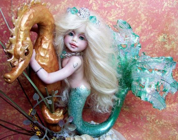 Ooak Fantasy Mermaid Seahorse Art Doll Polymer Clay Sculpture