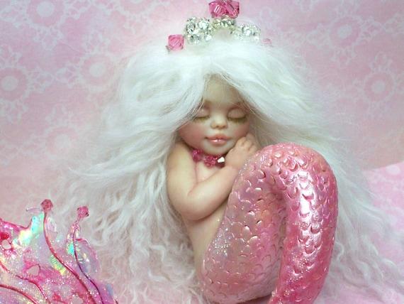 OOAK art doll fantasy mermaid baby polymer clay sculpture fairy july birthstone   IADR       free shipping
