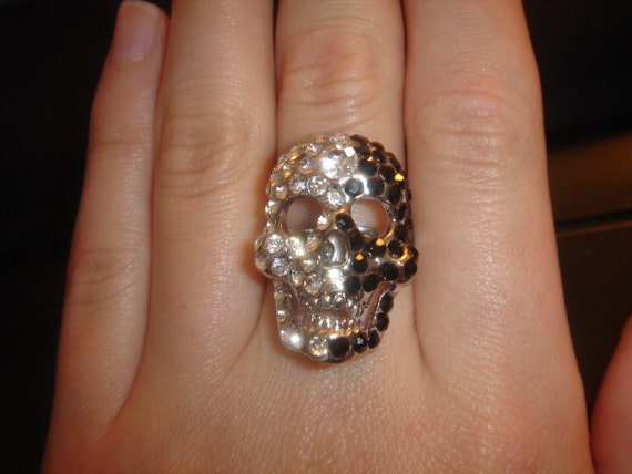 Black and Crystal Rhinestone Adjustable Skull Ring