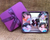 Personalized Photo Magnets - Large - 4cm Round - Set of 5 In gift tin