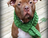 Green Dog Scarf for Large or Giant Breeds Hand Knit