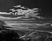 Beach Decor photography Storm Clouds at Beach Scene, 8x12 Oceanscape Sky Ocean StrongylosPhoto black and white