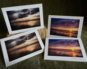 Beach Sunsets photo Cards - 4 pack - eco friendly recycled paper - suitable to frame - StrongylosPhoto sky beach ocean