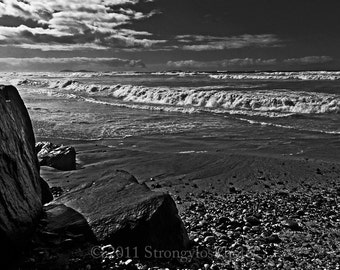 8x12 Beach Decor storm clouds ready to ship beach photo ocean waves cloudy sky black and white beach decor