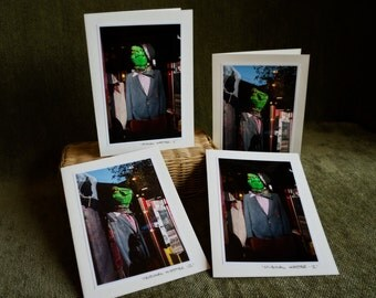 Greeting Cards, 4 pack, Hipster Green Frog Wearing Clothes, Ready to Ship paper goods