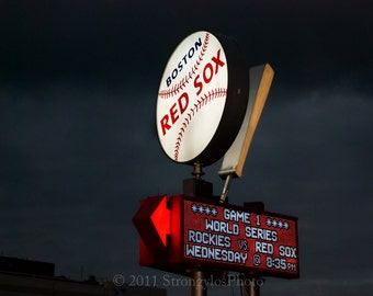 8x10 fine art photography, Fenway Park, Boston Red Sox, baseball, bat, ballpark, man cave decor, 2007 World Series, StrongylosPhoto