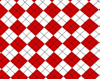 RED ARGYLE From Robert Kaufman's Remix Collection by Ann Kelle - Out of Print