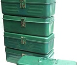 Vintage lot of six green metal lockboxes, worn and mismatched