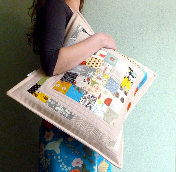 patchwork pillow - quilted pillow - cushion cover