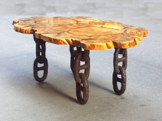 Unique Salvaged Banyan Trunk Wood Slice Coffee Table Reclaimed